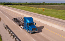 Blue Big Rig Semi Truck Car Hauler Highway Transportation Stock Photography
