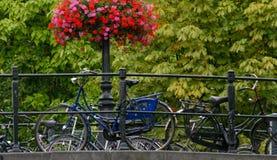 Blue bike. On a bridge on Stock Photos