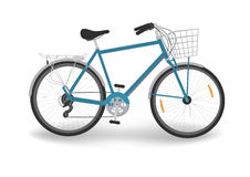 Blue bike with basket. Isolated blue bicycle with basket, vector vector illustration