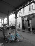 Blue Bike on Black and White royalty free stock image