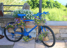 Blue bike with flowers Royalty Free Stock Photography