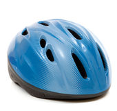 A blue bike helmet on a white background Stock Photos
