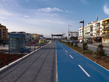 Blue bike lane on the Boulevard Stock Image