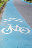 Blue bike lane Royalty Free Stock Photography
