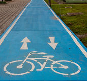 Blue Bike Lane Stock Photos