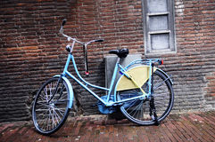 Blue Retro Bike and Red Brick Wall Royalty Free Stock Photo
