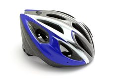 Blue biking helmet Royalty Free Stock Image