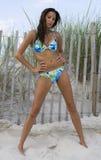 Blue Bikini Babe 8. Bikini clad beauty in the sand Royalty Free Stock Photo