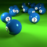 Blue billiard balls number two Royalty Free Stock Image