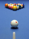 Blue billiard table. With white and all the other  balls Stock Images