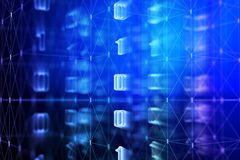 Blue binary code backdrop. Abstract blue binary code backdrop. Computing, cyberspace , future and innovation concept. 3D Rendeing Royalty Free Stock Photos