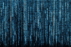 Blue Binary Code. Big Blue Binary code as matrix background, computer code with binary characters shining Stock Photography