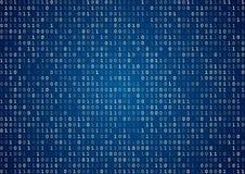 Blue binary code. Blue computer binary code program screen listing table background Stock Image