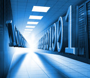 Blue binary code in data center Stock Photography