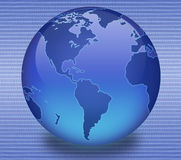 Blue Binary Globe. Shiny blue globe created in Photoshop with scan line/binary background Stock Images