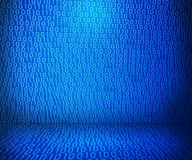 Blue Binary Room. Tech Blue Binary Room Background Stock Photography