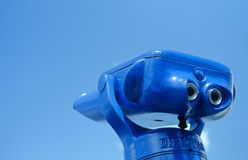 Blue binocular no.1. Blue binocular in front of a blue sky an the French coast Royalty Free Stock Photography