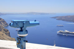 Blue binoculars Royalty Free Stock Images