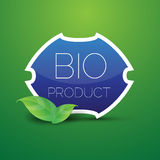 Blue Bio product shield button Royalty Free Stock Image