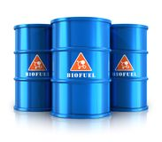Blue biofuel barrels Royalty Free Stock Image