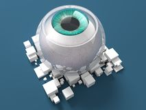 Blue Bionic Eye. 3D rendering: Bionic Eye Implant with blue eye Stock Photography