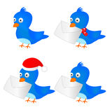 Blue Bird. Cute blue bird white background illustration Royalty Free Stock Photo