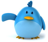 Blue bird. Fun blue bird, 3d generated picture Royalty Free Stock Photography