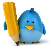 Blue bird. Fun blue bird, 3d generated picture Stock Photography