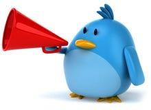 Blue bird. Fun blue bird, 3d generated picture Stock Images