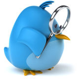 Blue bird. Fun blue bird, 3d generated picture Royalty Free Stock Images