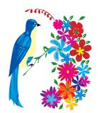 Blue bird. And flowers vector Royalty Free Stock Image