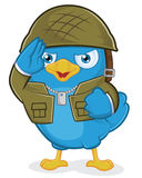 Blue Bird Army. Clipart Picture of a Blue Bird Army Cartoon Character Royalty Free Stock Photos