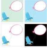 Blue bird with a ballon. For text Stock Photos