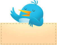 Blue Bird with blank banner. Illustration of Blue Bird with blank banner Royalty Free Stock Photo