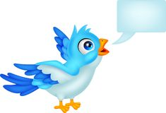 Blue bird with blank sign Stock Image