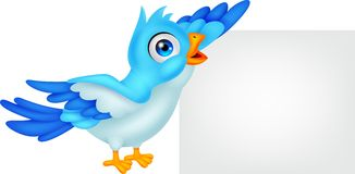 Blue bird with blank sign Stock Photos