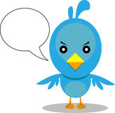 Blue bird with blank speech bubble Stock Images
