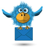 Blue Bird with a Blue Envelope Royalty Free Stock Images