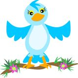 Blue Bird on a Branch with Flowers vector illustration