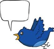 Blue bird. Cartoon blue bird with bubble vector Royalty Free Stock Image