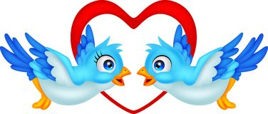 Blue bird cartoon couple Royalty Free Stock Photos