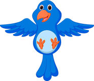 Blue bird cartoon flying Royalty Free Stock Photography