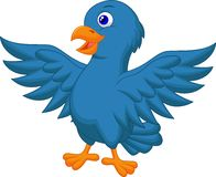 Blue bird cartoon Royalty Free Stock Images