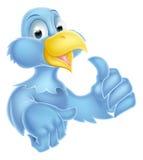 Blue bird character. Bluebird bird mascot character giving a thumbs up Royalty Free Stock Photos