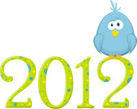 Blue bird on the digits 2012. Vector Illustration Royalty Free Stock Images