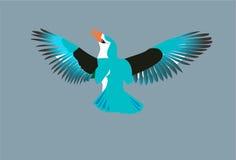 Blue bird. Flying on blue background stock illustration