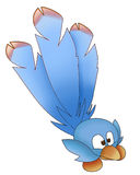 Blue bird funny. Illustration of a funny twitter blue bird on white background Stock Photography