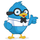 Blue Bird Geek. Clipart Picture of a Blue Bird Geek Cartoon Character Royalty Free Stock Photography
