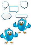 Blue Bird - Giving Two Thumbs Up. A cartoon blue bird with 5 speech bubbles Stock Photo