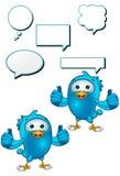 Blue Bird - Giving Two Thumbs Up. A cartoon blue bird with 5 speech bubbles Stock Photo